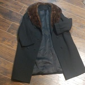 Vintage union made black trench fur collar coat